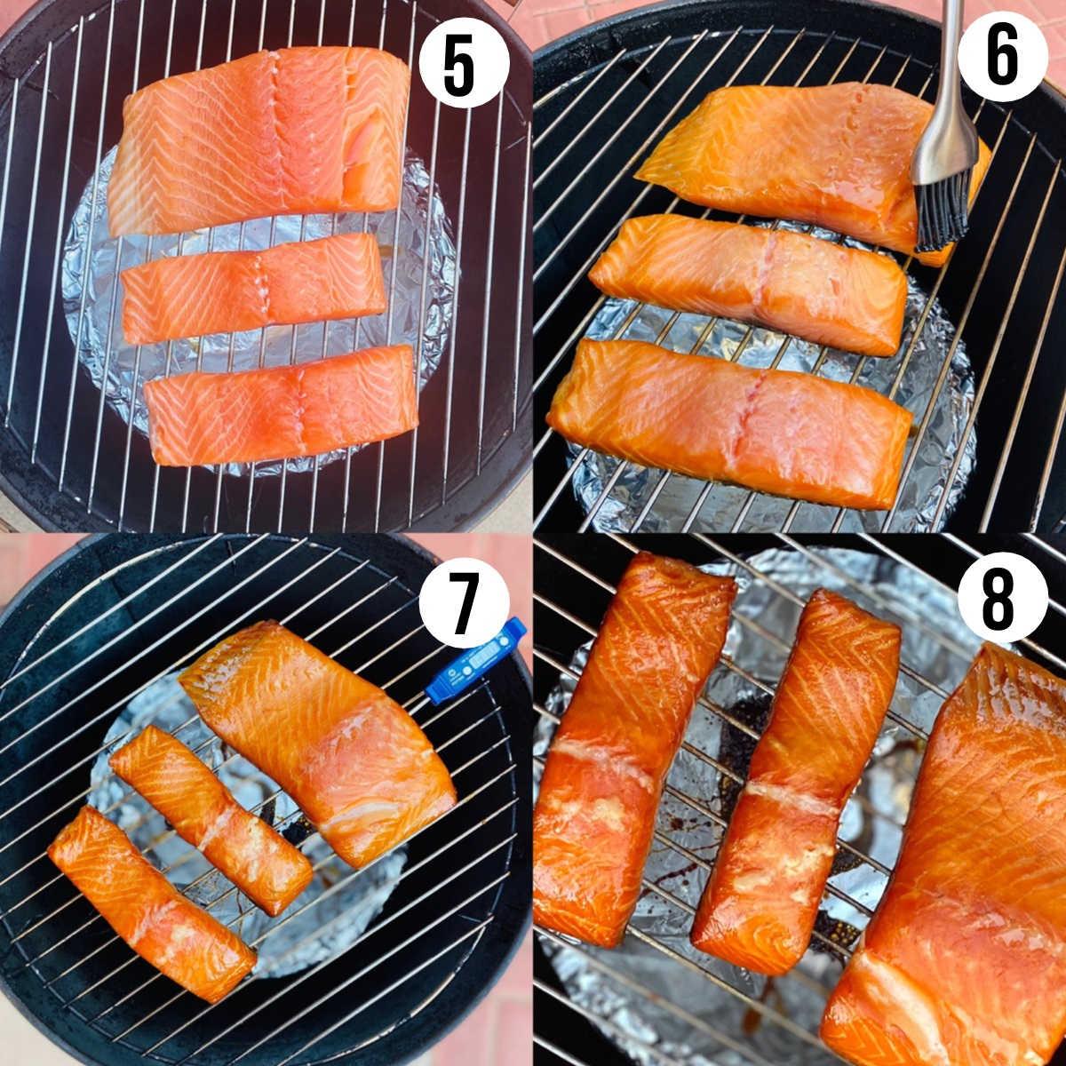 process shots 5-8 of honey smoked salmon recipe