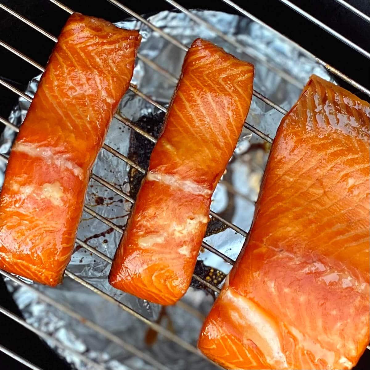 honey smoked salmon on the smoker