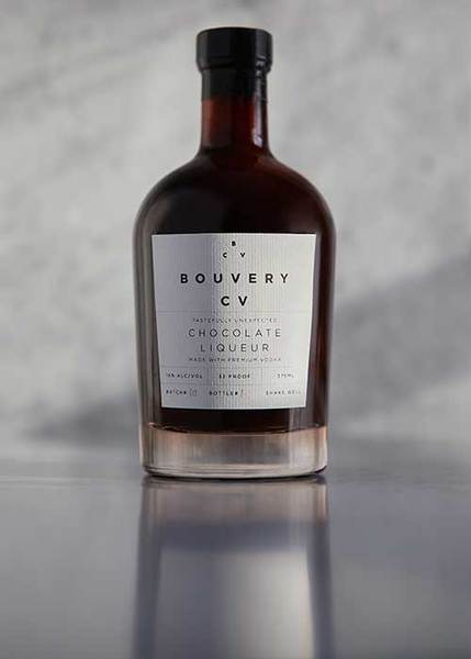 bouvery bottle of chocolate liqueur