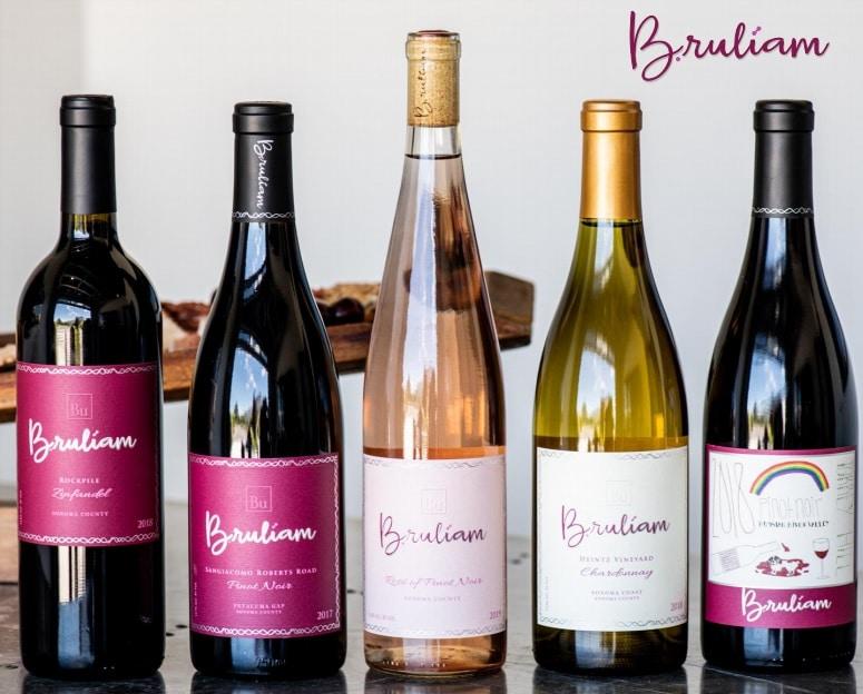 five bottles of bruliam wines