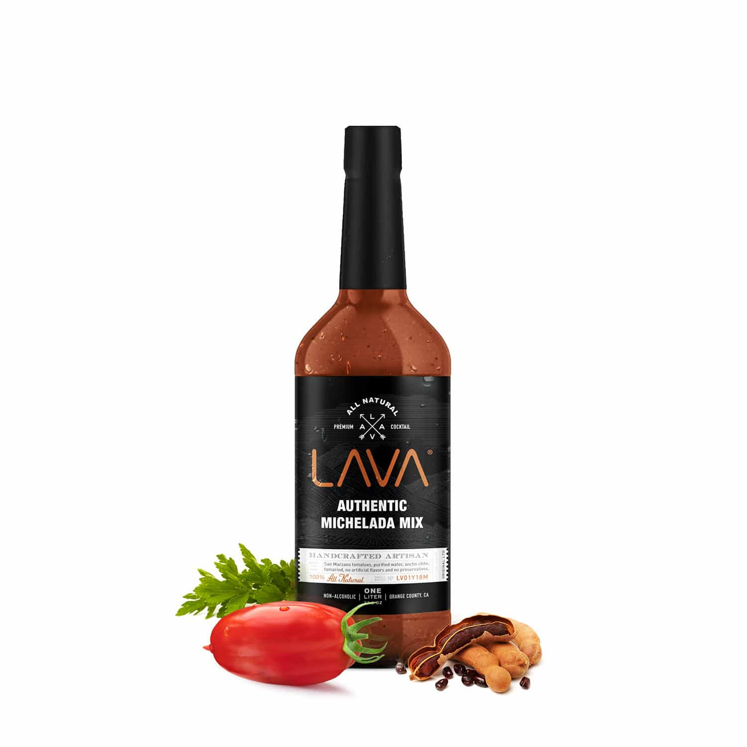a bottle of lava michelada mix next to vegetables