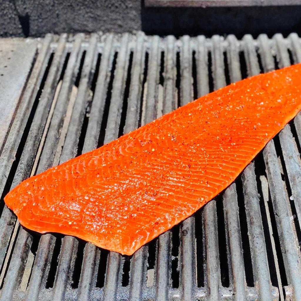 wild caught sockeye salmon on the grill