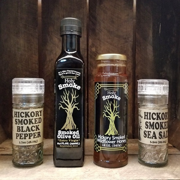 holy smoke pantry essentials smoked olive oil, honey, salt and pepper