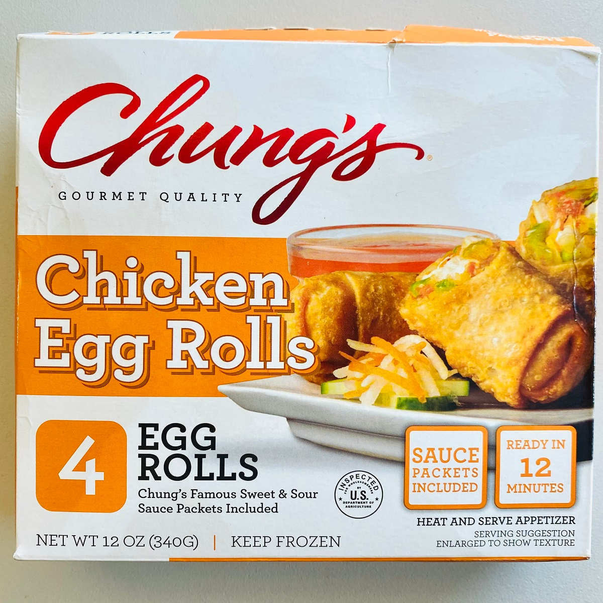 a box of chungs egg rolls to be cooked in air fryer