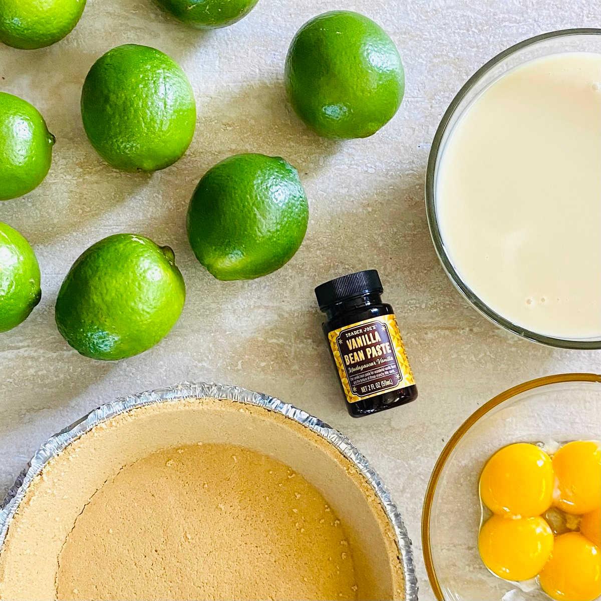 ingredients to make gluten free key lime pie