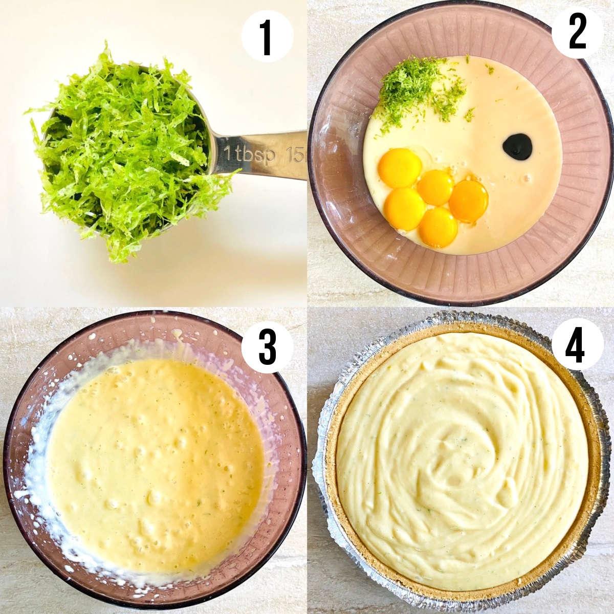 process shots 1 through 4 to make gluten free key lime pie