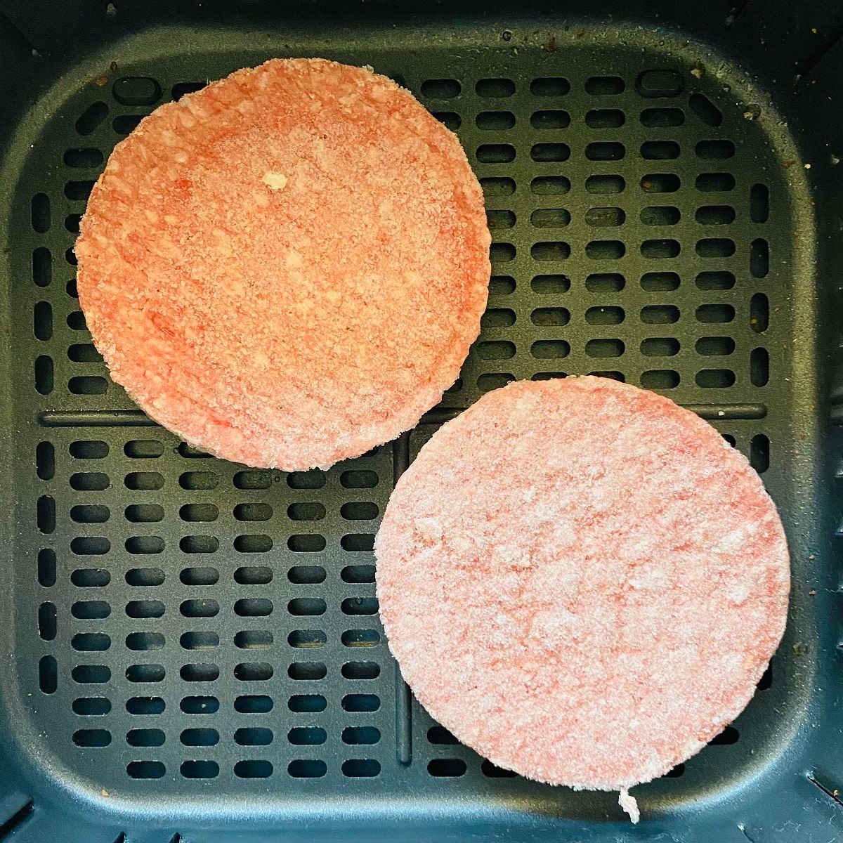 frozen burgers in air fryer basket