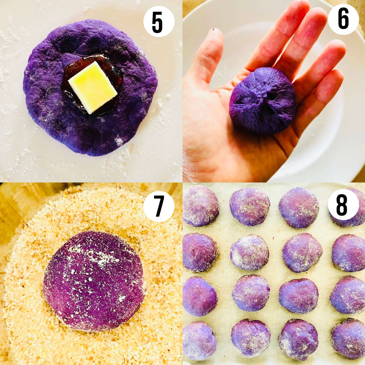 labeled process shots to make ube pandesal with cheese recipe